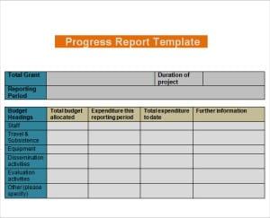 daily progress report templates