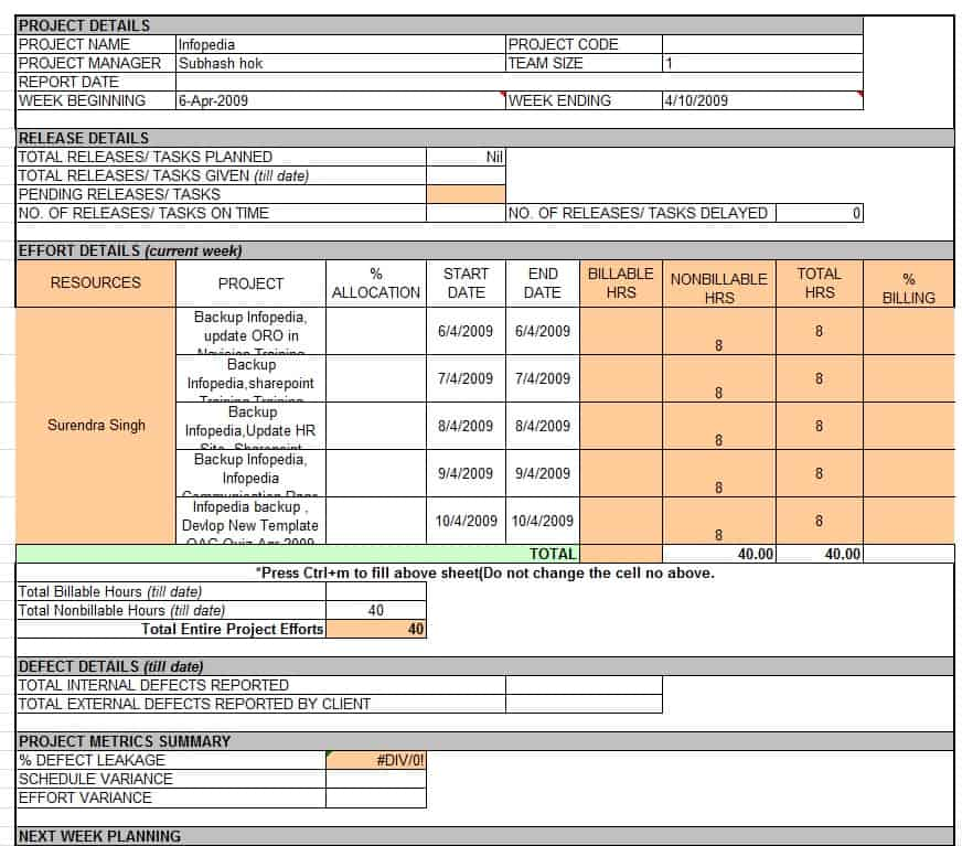 Activity Report Template Excel – Status Report Template